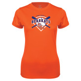 Ladies Syntrel Performance Orange Tee-Softball Design w/ Bats and Plate