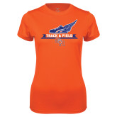 Ladies Syntrel Performance Orange Tee-Track and Field Side Design