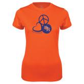 Ladies Syntrel Performance Orange Tee-Volleyball Design