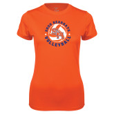 Ladies Syntrel Performance Orange Tee-Volleyball Stars Design