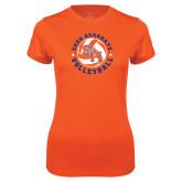 Ladies Syntrel Performance Orange Tee-Volleyball Stars Design