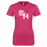 Ladies SoftStyle Junior Fitted Fuchsia Tee-SH Paw Official Logo