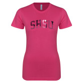 Ladies SoftStyle Junior Fitted Fuchsia Tee-Arched SHSU Foil