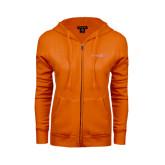 ENZA Ladies Orange Fleece Full Zip Hoodie-Bearkats