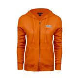 ENZA Ladies Orange Fleece Full Zip Hoodie-Arched SHSU