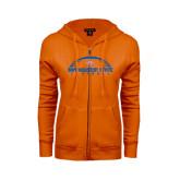 ENZA Ladies Orange Fleece Full Zip Hoodie-Arched Football Design
