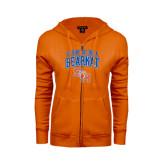 ENZA Ladies Orange Fleece Full Zip Hoodie-Proud To Be A Bearkat Arched