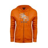 ENZA Ladies Orange Fleece Full Zip Hoodie-Mom