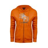 ENZA Ladies Orange Fleece Full Zip Hoodie-Alumni