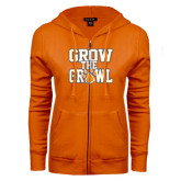 ENZA Ladies Orange Fleece Full Zip Hoodie-Grow the Growl