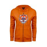 ENZA Ladies Orange Fleece Full Zip Hoodie-Bearkat Head