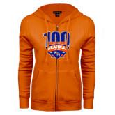 ENZA Ladies Orange Fleece Full Zip Hoodie-100th Football Season