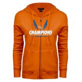 ENZA Ladies Orange Fleece Full Zip Hoodie-2016 Southland Conference Champions Indoor Track & Field