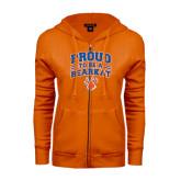 ENZA Ladies Orange Fleece Full Zip Hoodie-Proud to be a Bearkat