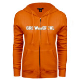 ENZA Ladies Orange Fleece Full Zip Hoodie-Grow the Growl Horizontal