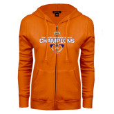ENZA Ladies Orange Fleece Full Zip Hoodie-2016 Southland Conference Football Champions