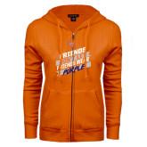 ENZA Ladies Orange Fleece Full Zip Hoodie-Friends Dont Let Friends Wear Purple