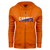 ENZA Ladies Orange Fleece Full Zip Hoodie-Southland Conference Indoor Track and Field Champions