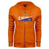 ENZA Ladies Orange Fleece Full Zip Hoodie-Southland Conference Indoor Track and Field Champions