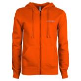 ENZA Ladies Orange Fleece Full Zip Hoodie-Sam Houston Bearkats