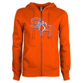 ENZA Ladies Orange Fleece Full Zip Hoodie-SH Paw Official Logo