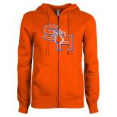 ENZA Ladies Orange Fleece Full Zip Hoodie-SH Paw Official Logo