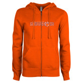 ENZA Ladies Orange Fleece Full Zip Hoodie-Sam Houston Bearkats