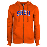 ENZA Ladies Orange Fleece Full Zip Hoodie-Arched SHSU