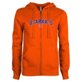 ENZA Ladies Orange Fleece Full Zip Hoodie-Arched Bearkats w/Paw