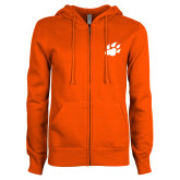 ENZA Ladies Orange Fleece Full Zip Hoodie-Secondary Athletics Mark