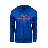 ENZA Ladies Royal Fleece Full Zip Hoodie-Arched Football Design