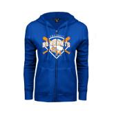 ENZA Ladies Royal Fleece Full Zip Hoodie-Softball Design w/ Bats and Plate