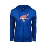 ENZA Ladies Royal Fleece Full Zip Hoodie-Track and Field Side Design