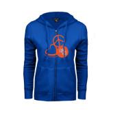 ENZA Ladies Royal Fleece Full Zip Hoodie-Volleyball Design