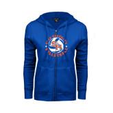 ENZA Ladies Royal Fleece Full Zip Hoodie-Volleyball Stars Design