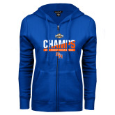 ENZA Ladies Royal Fleece Full Zip Hoodie-Southland Conference Indoor Track and Field Champions