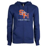 ENZA Ladies Royal Fleece Full Zip Hoodie-Volleyball
