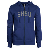 ENZA Ladies Royal Fleece Full Zip Hoodie-Arched SHSU Silver Soft Glitter