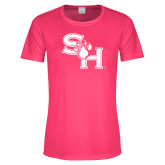 Ladies Performance Hot Pink Tee-SH Paw Official Logo