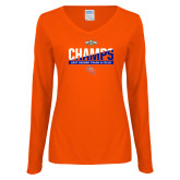 Ladies Orange Long Sleeve V Neck T Shirt-Southland Conference Indoor Track and Field Champions