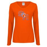 Ladies Orange Long Sleeve V Neck T Shirt-SH Paw Official Logo