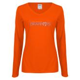 Ladies Orange Long Sleeve V Neck T Shirt-Sam Houston Bearkats