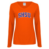 Ladies Orange Long Sleeve V Neck T Shirt-Arched SHSU
