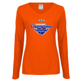 Ladies Orange Long Sleeve V Neck Tee-2017 Southland Conference Baseball Champions