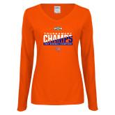 Ladies Orange Long Sleeve V Neck T Shirt-2017 Southland Conference Baseball Champions