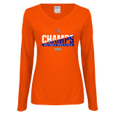 Ladies Orange Long Sleeve V Neck Tee-2017 Southland Conference Mens Track and Field