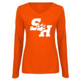 Ladies Orange Long Sleeve V Neck Tee-Primary Athletics Mark