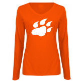 Ladies Orange Long Sleeve V Neck Tee-Secondary Athletics Mark