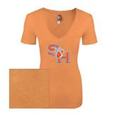 Next Level Ladies Vintage Light Orange Tri Blend V-Neck Tee-SH Paw Official Logo