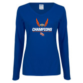 Ladies Royal Long Sleeve V Neck T Shirt-Southland Conference Indoor Track and Field Champions
